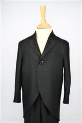Tiny Tux Suit The Tail Coat comes in two colours, black and light grey. It is made in a blend of soft polyester and viscose, making it light and comfortable to wear. The coat is fully lined, one button fastening with buttons on the cuffs. The Trousers have a single pleat front, side pockets, belt loops and an elasticated back for a comfortable fit.