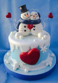 weihnachten kuchen love - Cake by Angela Cassano # - Christmas Cake Designs, Christmas Cake Decorations, Holiday Cakes, Christmas Desserts, Christmas Treats, Christmas Baking, Christmas Cakes, Christmas Wedding, Winter Torte