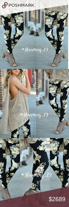 ❣HP❣* SPRING FLORAL PRINT LEGGINGS ✔SEE SIZING  (OSFM)✔[[[COMFORTABLY FITS SIZES 2-12/14 ]]]✔READY FOR SPRING& RIGHT ON TREND! THESE AMAZING  HIGH END QUALITY LEGGINGS FEATURE A SLIMMING  BLACK BACKGROUND W/ A FLORAL PRINT FULL OF CREAMS&  BROWNS. BUTTERY SOFT LIGHT WEIGHT & BREATHABLE MATERIAL 92% POLY/ 8%SPANDEX- [[NON - SHEER]] FOR AN EFFORTLESS CHIC LOOK!.❌✔PLZ NOTE❌✔ SEVERAL ITEMS IN MY CLOSET PAIR VERY WELL THESE AS SEEN IN PIC #5  LAYER IDEAS boutique Pants Leggings