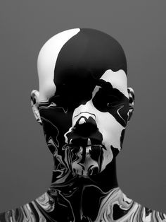 black, white, portrait, face, head, paint, heyniek, art, mistery, mannequin, artwork, design