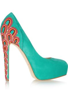 Amazing Brian Atwood pumps. Teal turquoise shoes.