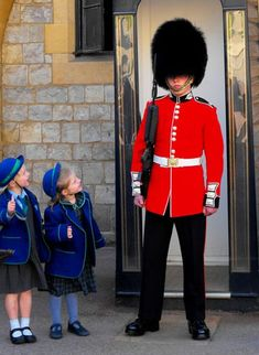 Windsor Castle Guard and some little schoolgirls, so cute!