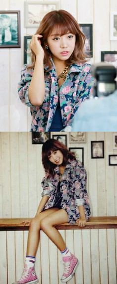 #kpop Star #Apink picked Dolly & Molly's Vintage Flower Denim Jacket in Purple Color for their 2014 Calendar Shooting !  #musthave in your closet ! don't miss it !  #dollymolly #dailypick #lookbook #ootd #koreafashion #streetwear