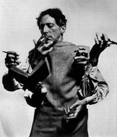 Portrait of Jean Cocteau by Man Ray. Man Ray was a pioneer of surreal photography. His layering of images and play with exposure and development, resulted in composed images / realities. Man Ray, Famous Photographers, Portrait Photographers, Milly La Foret, People Reading, Foto Picture, Philippe Halsman, Peggy Guggenheim, Foto Portrait