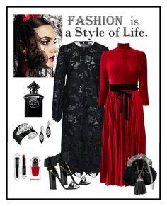 """Lela Rose Black Lace Coat Look"" by romaboots-1 ❤ liked on Polyvore featuring Blanca, Thalia Sodi, Lela Rose, Miu Miu, N°21, Kenneth Jay Lane and Guerlain"
