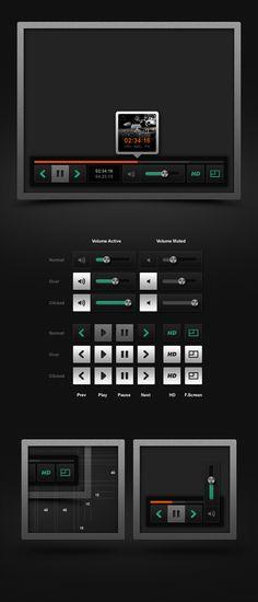 Free Video Player (PSD) by Emile Rohlandt, via Behance App Ui Design, User Interface Design, Tool Design, Web Design, Ui Web, Ui Elements, Ui Inspiration, Interactive Design, Design Tutorials