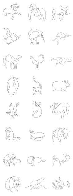 30 Minimalist Tattoo DesignsThis minimalist style designs that I especially lik. - 30 Minimalist Tattoo DesignsThis minimalist style designs that I especially like consist of a larg - Ferret Tattoo, Raccoon Tattoo, Bff Drawings, Animal Drawings, Cute Tattoos, Small Tattoos, Pig Tattoos, Tatoos, One Line Animals