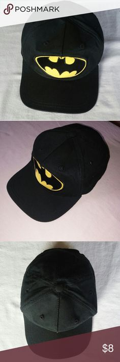Youth Batman Ball Cap Like new condition No stains or tears Adjustable snap in back Ponytail hole Black button on crown Vibrant colors in Batman emblem  Wide brim Accessories Hats