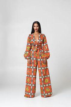 African Print Laurette Pants - Women's style: Patterns of sustainability African Wear Dresses, Latest African Fashion Dresses, African Attire, African Print Pants, African Print Clothing, African Inspired Fashion, African Print Fashion, African Print Jumpsuit, Ankara
