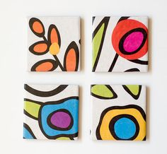 Modern Ceramic Coasters Abstract Florals set of 4 by Tilissimo