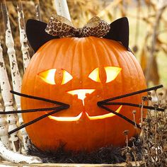 Sweet details and a purrrrfect face are a great way to get your young ones involved if they're not old enough to carve on their own! For more fun kids' pumpkin carving ideas, check out: http://www.pumpkinmasters.com/kids-carving.asp
