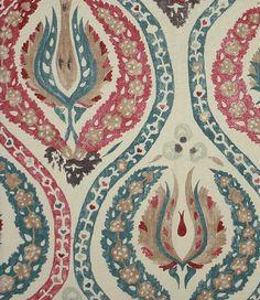 Linen Curtain Fabric   Benaki Linen Fabric A beautiful rich cream linen printed with a ...