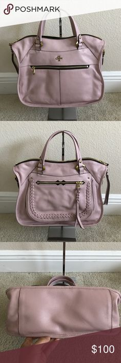 """orYANY Pebble Leather Satchel w/Braiding Detail Preown in great condition. Color antique rose. Has some wrinkles infront left of purse. Back of purse one of the zipper handle is missing. Comes with straps. Measures approximately 12""""W x 10""""H x 5-1/2""""D with a 5"""" handle drop and a 19"""" to 22"""" strap drop; weighs approximately 2 lbs, 2 oz Body/trim 100% leather; lining 100% cotton orYANY Bags Satchels"""