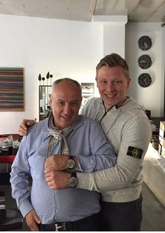 NHL Hockey Player Ronalds Ķēniņš / ex ZSC Player — with ZSC Lions, with Daniel Dreifuss, founder of Maurice de Mauriac Swiss watches. Showing off their new watches!