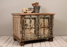 Antique Indian Trunk Side Table Chippy by hammerandhandimports, $429.00
