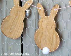 DIY Wood Veener Bunny Banner @silhouettepins