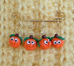 Set of 4 Pumpkin Knitting or Crochet Stitch Markers by yarndemon, $12.00