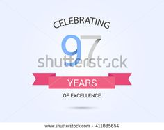 97 years anniversary, signs, symbols, simple design with red ribbon. - stock vector