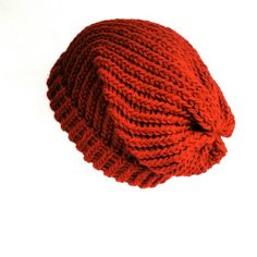 cf670b40981 Christmas red bohemian grunge classic style unisex slouchy beanie hat.  Hand-woven