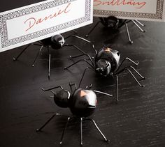 Black Widow Spider Place Card Holder, Set of 4   Pottery Barn