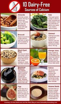 10 Dairy Free Sources of Calcium, just nix the Salmon for Vegan. :)
