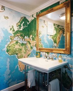 Colonial Vintage Bathroom  Map wallpaper and a gold mirror in a bathroom  Details: Blue-Green-Yellow Colonial-Vintage Wall Treatment, Blue-Gold-Green Colonial-Vintage Bathroom
