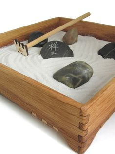 Mini Zen Garden - Karesansui with White Sand - Includes Rocks, Rake, and Zen Power Stone