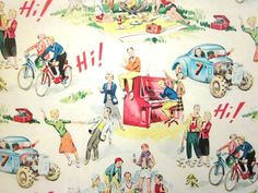 Vintage Wrapping Paper  One Sheet Gift Wrap  Hi by TillaHomestead, $8.00