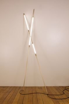 Shy Beam by Bec Brittain  LED tubes and available in brass, bronze, nickel and pewter.