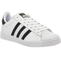Adidas Superstar Vulc Adv ($105) ❤ liked on Polyvore featuring shoes, trainers, unisex sports, white black, adidas, adidas footwear, striped shoes, black white striped shoes and sporting shoes