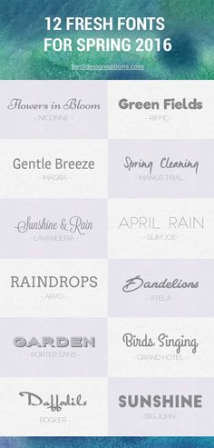 12 Free Fresh Fonts for Spring 2016