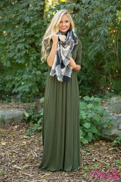 What You're Looking For Maxi Dress Olive - The Pink Lily