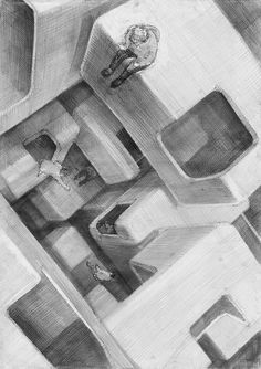 3d Art Drawing, Art Drawings, Drawing Exercises, Perspective Drawing, Aesthetic Drawing, Environment Concept Art, Geometric Art, Art Inspo, Art Sketches