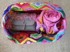 crochet hexagon crochet tote, crochetbug, crochet bag, travel essential, crochet hooks