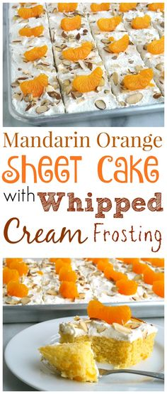 This Mandarin Orange Sheet Cake with Whipped Cream Frosting has the most delicious and satisfying texture you'll ever want to experience in a cake from NoblePig.com.
