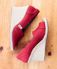 red canvas toms wedges