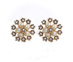 Rhinestone Flower Earrings Clip On Statement by ClassiqueStyle, $18.00