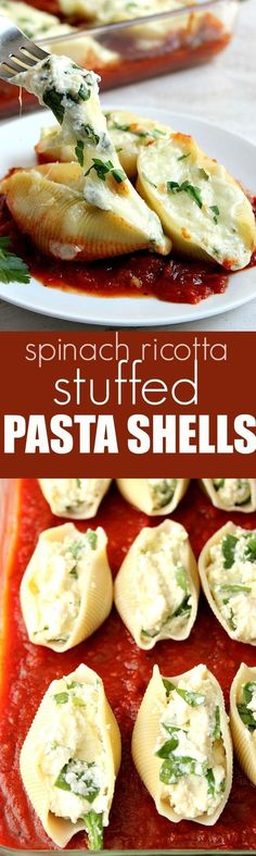 Spinach and Ricotta Stuffed Pasta Shells recipe - rich and hearty pasta dish that's easy to make! Jumbo pasta shells filled with creamy ricotta and spinach filling, topped with more cheese and baked on top of hearty red sauce.
