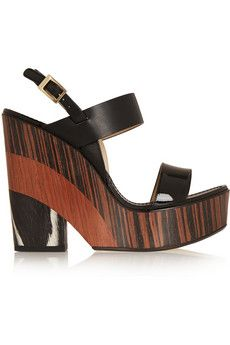 Jimmy Choo Notion leather and wood wedge sandals | NET-A-PORTER