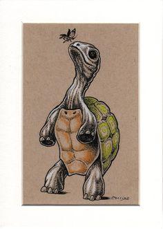 Bryan Collins Pop Surreal Art by bryancollins Strong Tattoos, Old Tattoos, Tatoos, Tortoise Drawing, Tortoise Tattoo, Turtle Tattoos, Animal Tattoos, Mum Tattoo, Survivor Tattoo