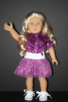 Sparkle Elegance and Dance 3 Piece Outfit Bright Purple Fits American Girl on weeline.com $19.50