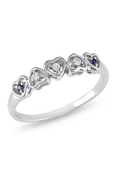 Sapphire Blue Topaz & Diamond Hearts Ring In 10k Gold.