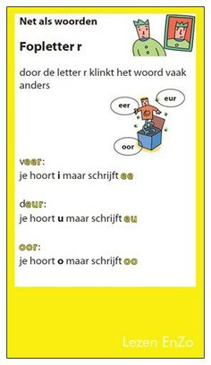 Hulpkaartje  Fopletter R Spelling For Kids, Dutch Language, School Items, Second Grade, Grade 3, Kids Education, Pre School, Grammar, Homeschool