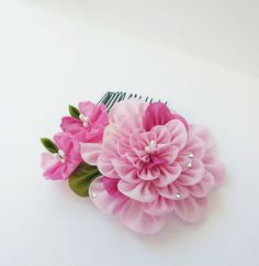 Pink Peony and Sakura Cherry Blossom Tsumami Kanzashi Hair Comb