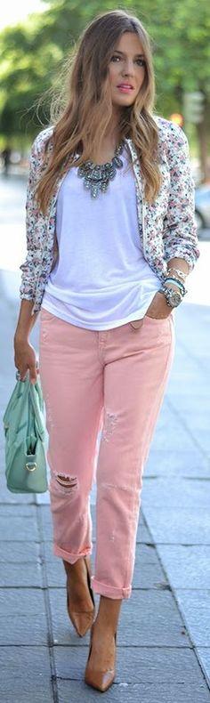 Coral Denim Ripped Boyfriend Jeans by Mi Aventura Con La Moda