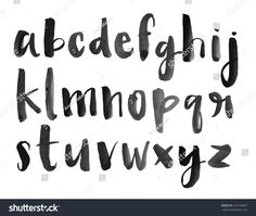 Modern Vector Watercolor Alphabet. Watercolor Font. ABC Painted Letters. Modern Brushed Lettering. Painted Alphabet