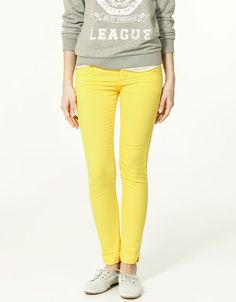 Sunny yellow skinny pants -- great with neutrals. Zara.com