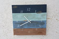 Pallet Wood Clock. Beach House style...Rustic and Modern...Reclaimed wood, distressed ...Custom Order...Choose Your Colors