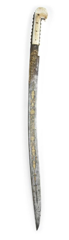 Gold and copper walrus ivory-hilted yataghan. Signed Al-Hajj Ahmad. Ottoman, Turkey,dated  AH1268/1851-2 AD. With typical single-edged blade slightly curved, with double fuller along strong edge, the guard and hilt with raised floral motifs, the hilt of typical shape with protruding pommel, the blade with gold and silver damascening with floral arabesques and calligraphic cartouches.