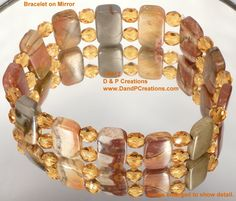 Cherry Creek Jasper Elastic Bracelet with Czech Fire-Polished Honey Beads    $24.95